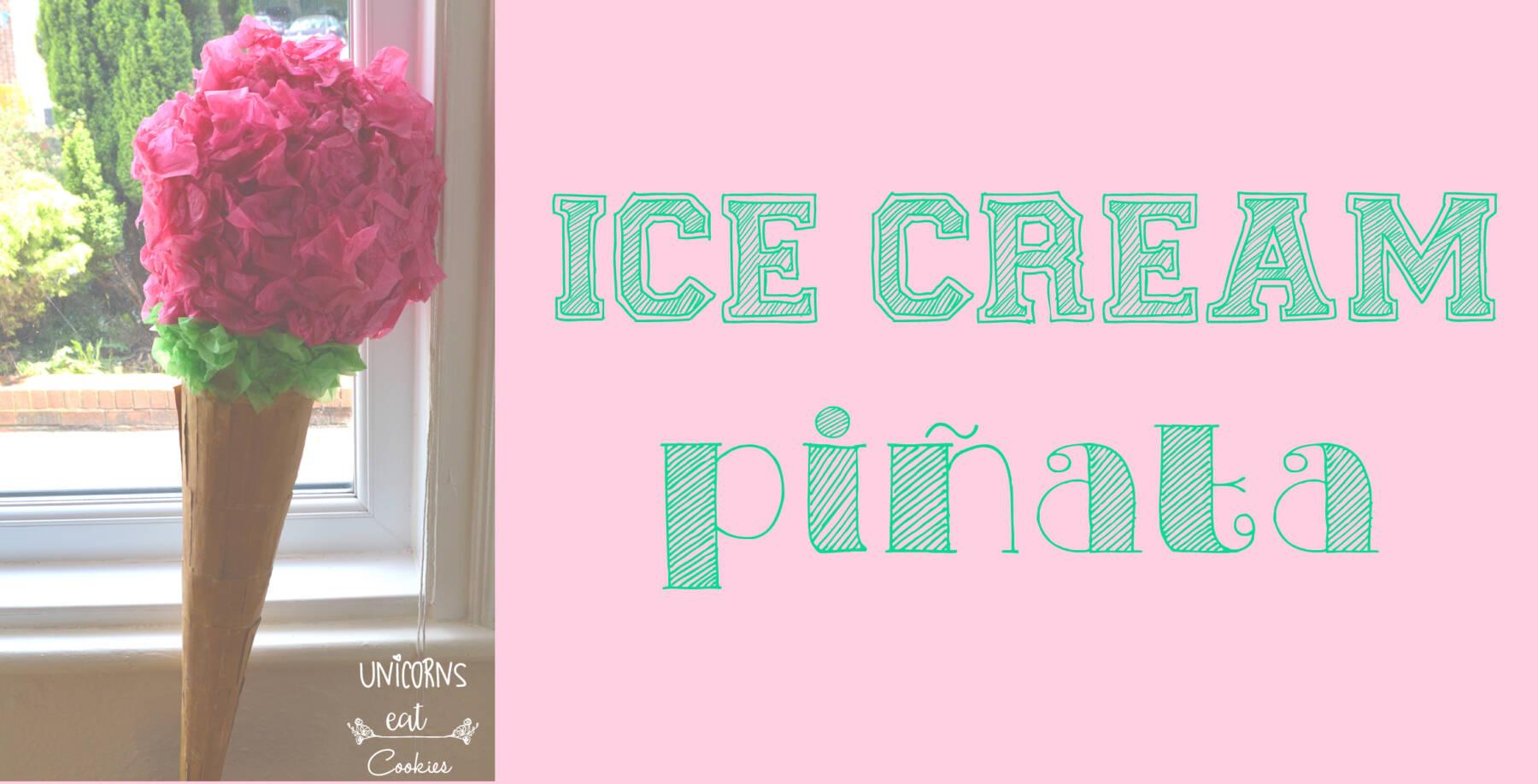 gelato, ice cream, pignatta, pinata, idea per feste, party idea, diy, fai da te, progetti, a mano, carta pesta, caramelle, candies, sweets, fun, giochi, games