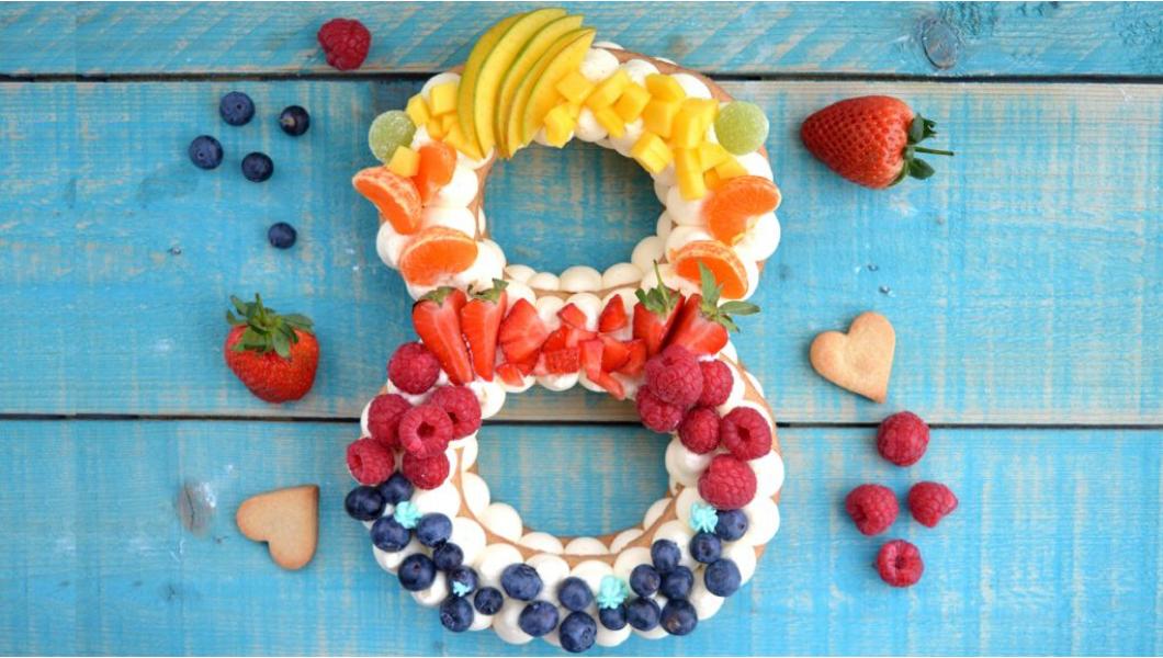 ricetta cream tart torta numero con frutta arcobaleno