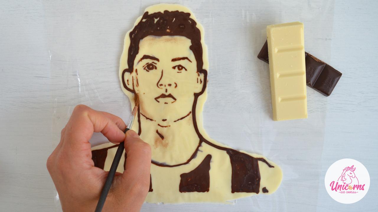 chocolate portrait, ronaldo, cristiano ronaldo, cr7, decorazioni di cioccolato