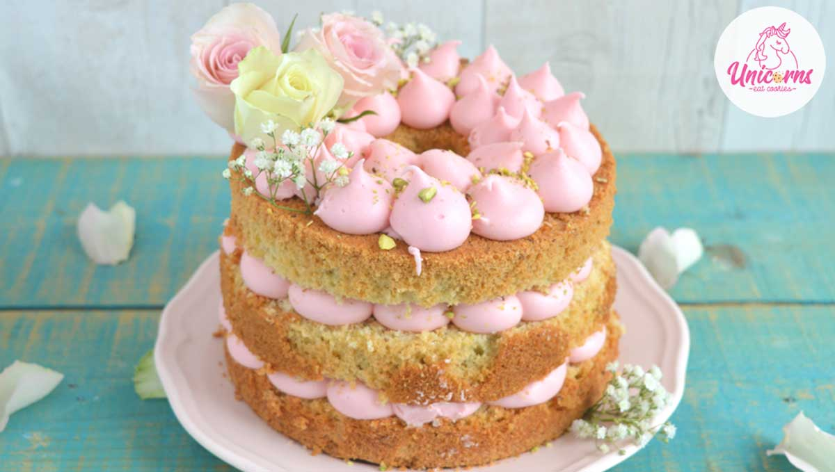 ricetta naked cake pistacchi e acqua di rose chiffon cake